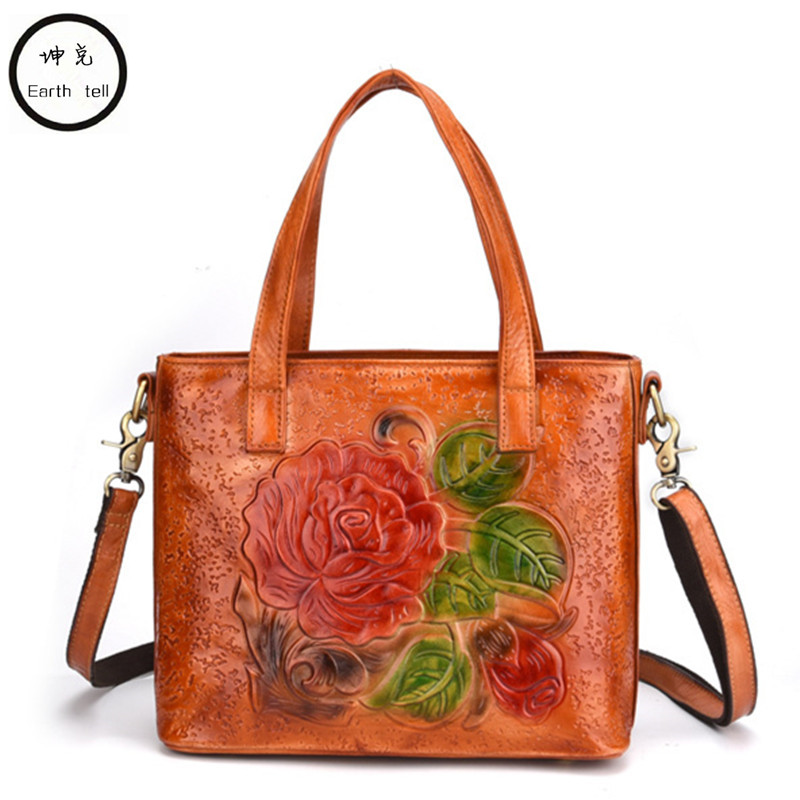 Embossing Genuine Leather Women Handbags High-end Designer Brand Shoulder Crossbody Bag Travel First layer cowhide Tote Bags