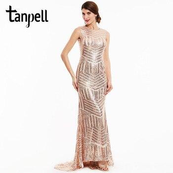 68e4a822981175f Tanpell Русалка вечернее платье Дешевые Шампанское Совок рукавов длиной до  пола платье сексуальный черный спинки блестками длинное вечернее п.