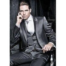 Новейший дизайн пальто, темно-серый костюм жениха, смокинги для выпускного, свадьбы(пиджак+ брюки+ жилет), мужской костюм, костюм, Свадебный мужской костюм