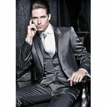2017 Latest Coat Designs Dark Grey Groom Suits Tuxedos For Prom Wedding (Jacket+Pants+Vest) Men Suit Set Costume Marriage Homme - DISCOUNT ITEM  37% OFF All Category