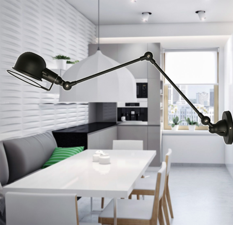 Retro Loft Industrial LED Vintage Wall Lamp light With Long Arm , Wall Sconce Arandela De Pared стоимость