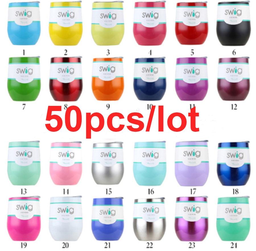50pcs lot Factory Price Swig Wine Mug 9oz Egg Shaped Cup Steel Christmas Gift Tumbler Bottle