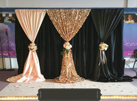 3M x 3M unique black Wedding Backdrop with beautiful Swag Wedding drape and curtain wedding decoration