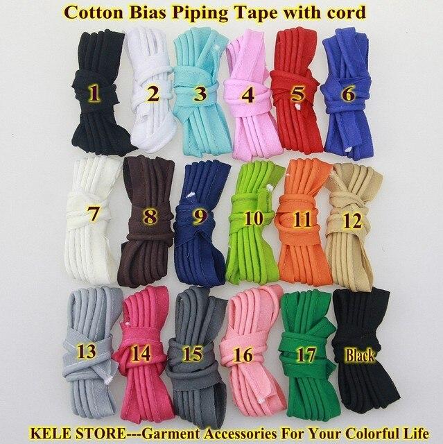 Livraison gratuite-100 % coton Biais Tuyauterie, biais tuyauterie bande avec cordon, taille: 12mm, 15yds DIY faire, à coudre textile de maison couleur unie