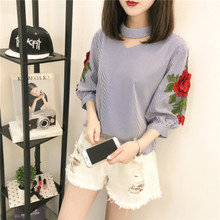 Blouse Limited Sale Cotton Fashion Women Shirts Blusas Femininas 2017 Summer Sleeve Shirt Hollow Rose Embroidery Cuff Female