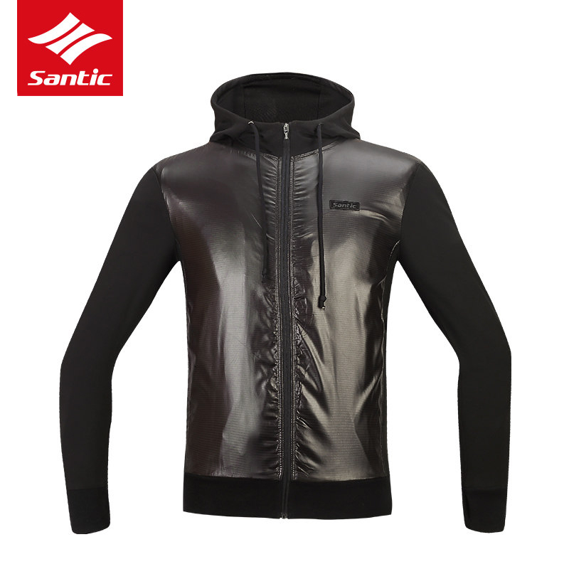 Santic Men Winter Cycling Jacket Thermal Fleece Windproof MTB Road Bike Jacket Black Hooded Bicycle Jacket Cycling Clothing santic winter men cycling jersey with hooded fleece blue warm cycling clothing thermal mtb windproof cycling wear mc01054