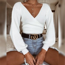 2018 deep V Neck Twisted Back sexy Sweater Women Jumpers Pullovers Casual Tops Long Sleeve Knitted Sweaters pullovers femme все цены