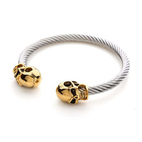Meaeguet Silver Punk Skull Men Gold Silver Bangles Stainless Steel Wire Cable Chain Cuff Elastic Adjustable