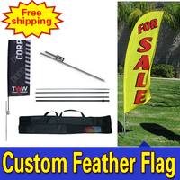 80 cm * 410 cm miễn phí vận chuyển Make lá cờ riêng của bạn Flags Feather với spike Âm Sàn Double Sided Printing cho quảng cáo ngoài trời
