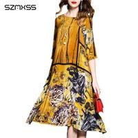 2018 spring and summer Dress women new vintage Chinese style retro printing silk Dress female vestidos mujer vestido de festa
