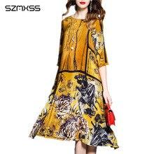 fb82483557424 2018 الربيع و الصيف ثوب المرأة الجديدة خمر النمط الصيني الرجعية الطباعة  الحريرية اللباس أنثى vestidos موهير vestido دي فيستا