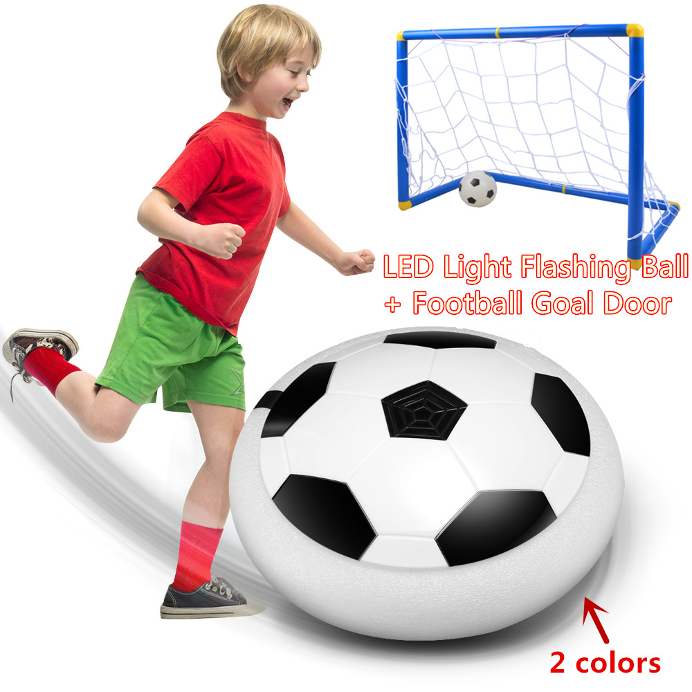 17CM LED Light Flashing Arrival Air Power Soccer Ball+DIY Children Sports Soccer Goals Door Set Football Game Toy 2018 World Cup