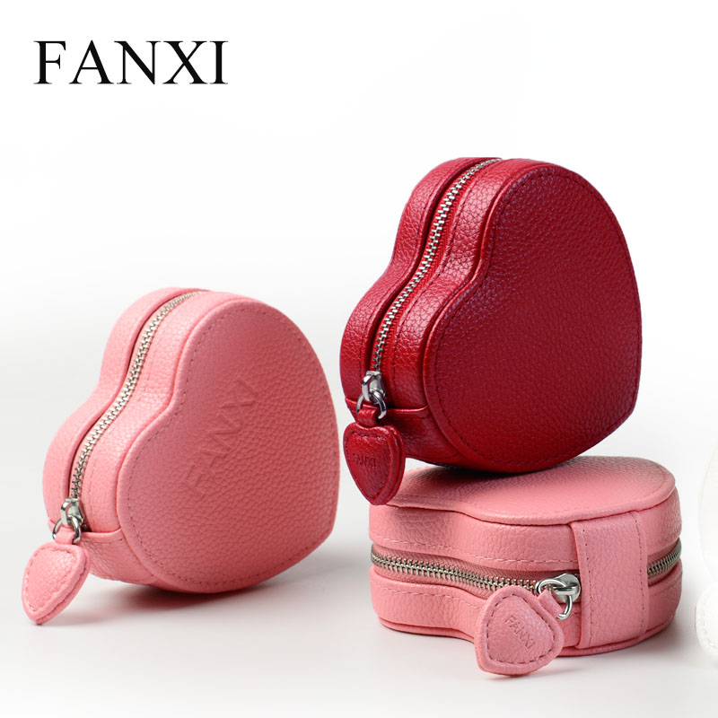 FANXI Pretty PU Leather Jewelry Gift Box with Heart shape Velvet Internal for Bracelet Necklace Packaging Jewelry Organizer