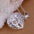 3D encantos do coração Pingentes colar 925 carimbado banhado a prata colares 20 ''cobra cadeias Para O Dia Dos Namorados da mulher presente