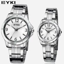 EYKI Lovers Ocio Reloj Banda de Acero Inoxidable Relojes para Hombres 10 Metros Caja de Regalo del reloj de Cuarzo Resistente Al Agua Macho paquete