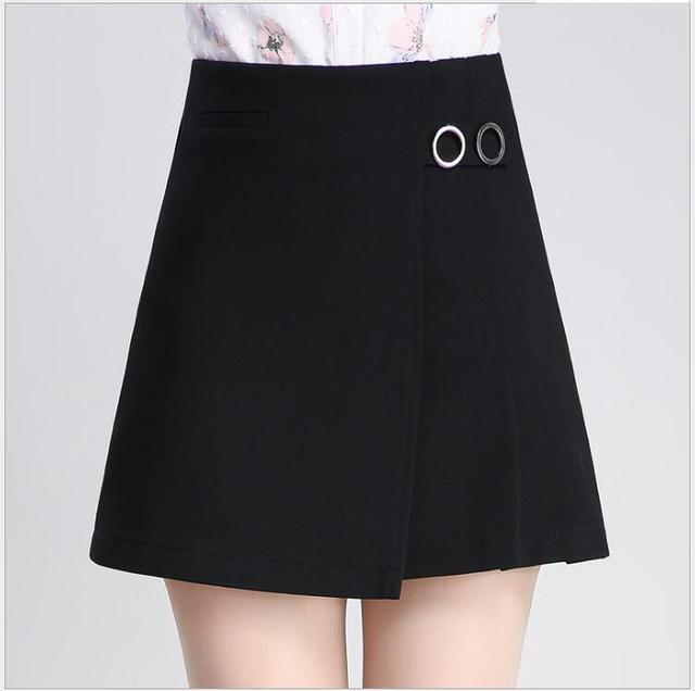 5e9539574f 2017 Primavera y Otoño Nueva negro alta cintura corta falda femenina una palabra  paquete de la