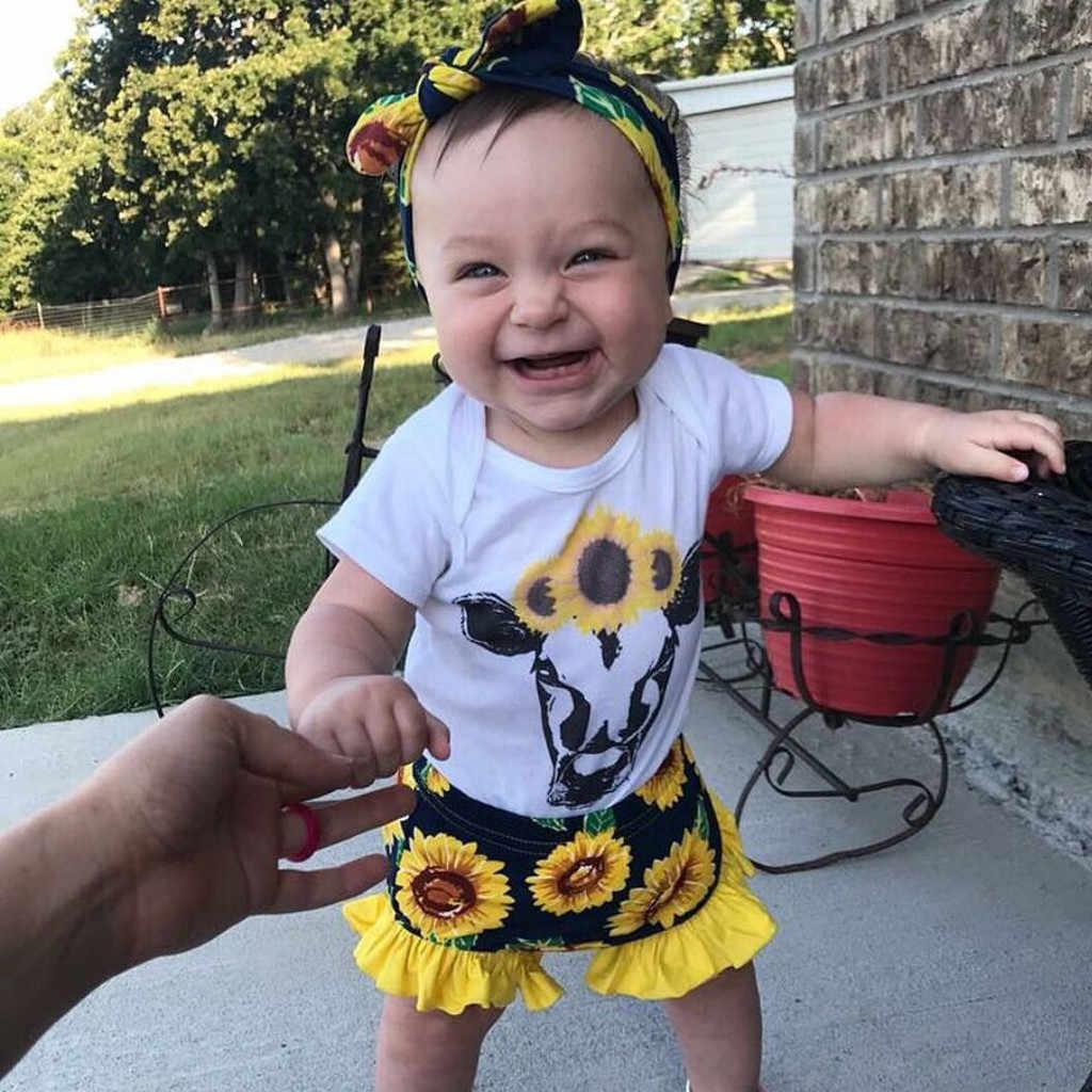 Baby Toddler Girls round neck short sleeve Cartoon Printed cow Romper blouse +Sunflowers Floral Shorts Outfits summer 2pice Set