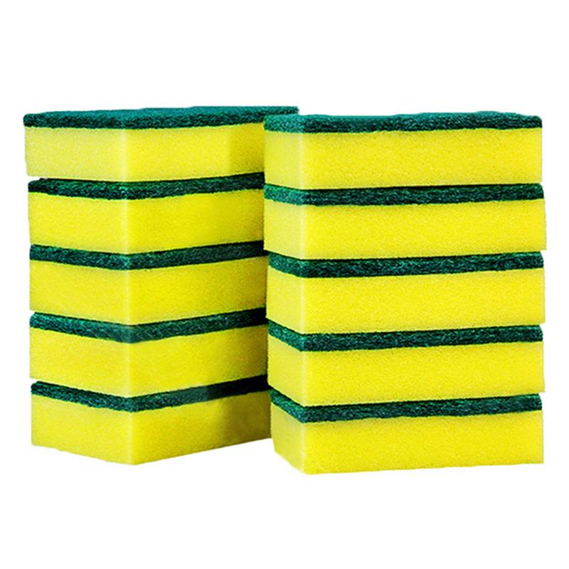 10Pcs High Density Sponge Kitchen Cleaning Tools Washing Towels Wiping Rags Sponge Scouring Pad Microfiber Dish Cleaning Cloth40(China)