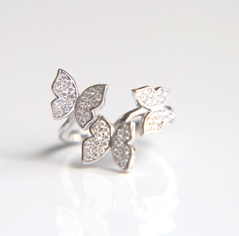 2017 mode femmes bijoux micro pave cz bling 925 sterling argent mignon animal papillon argent bague élégante