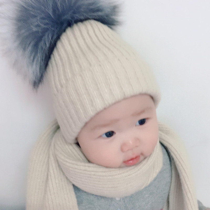 COKK Childrens Winter Wool Hat And Scarf Sets Real Fur Fox Fur Pom Pom Hat Kids Warm Knit Cap Beanie Hats For Girls Boys Baby
