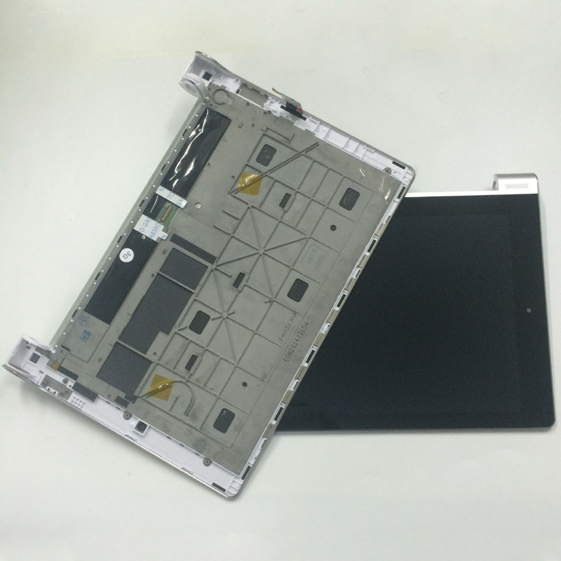 For Lenovo Yoga 10 B8000 B8000-H 60047 Touch Screen Digitizer Sensor + LCD Display Panel Monitor Assembly with Silver Frame 10 1 for lenovo b8000 b8000h b8000 h 60046 yoga display assembly full lcd with frame digitizer touch screen 10 mcf 101 1093 v3