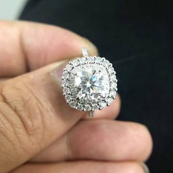 2ct Center 7.5mm EF color Cushion Cut Moissanite accents Moissanite double halo ring 6