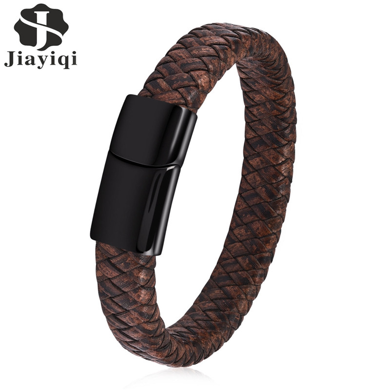 Jiayiqi Men Braided Leather Bracelet Stainless Steel Magnetic Clasp Fashion Black /Brown Bangles 18.5/20.5/22cm цена