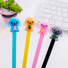 4pcs/lot Super Cute Small Milk Dog Animal Cartoon Gel Pen 0.5 Black Student Ink Gel Pen Kids School Office Supply Party Gift 4pcs novelty cute my neighbor totoro gel ink pen signature pen school office supply as toy finger action for kids