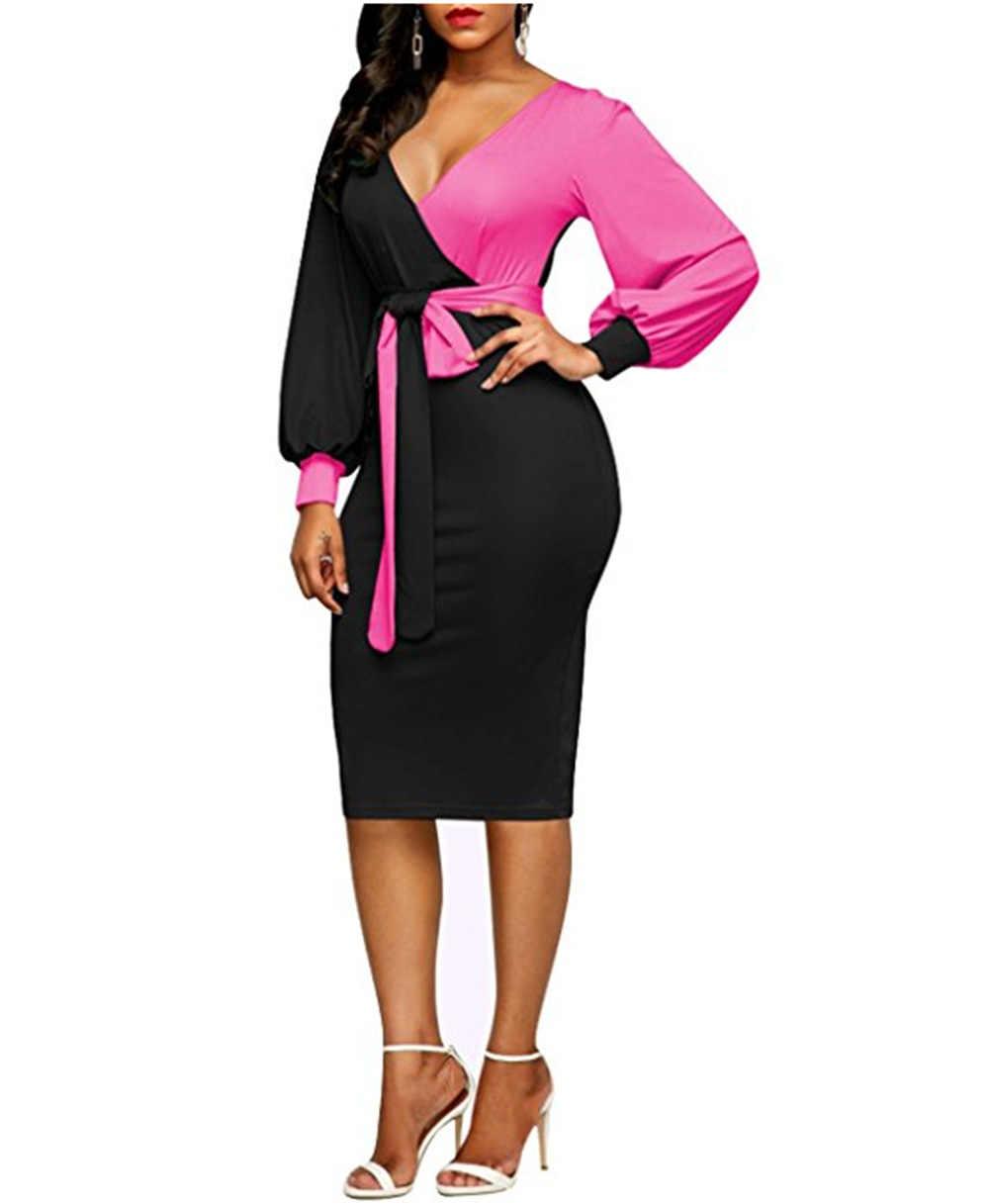 女性のファッションサッシセクシーなオフィスレディワークドレスロングスリーブディープ V ネックコントラストカラーシャツワンピース 2018 冬の女性ドレス Xxl
