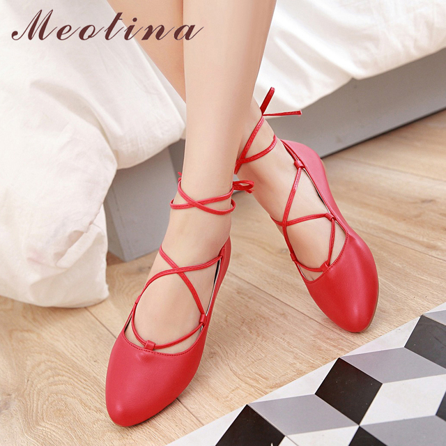 adea299bb75 US $16.93 53% OFF|Meotina Ballet Flats Women Shoes Ankle Strap Boat Shoes  Cross tied Pointed Toe Ladies Flat Shoes Footwear Red Pink White Size 39-in  ...