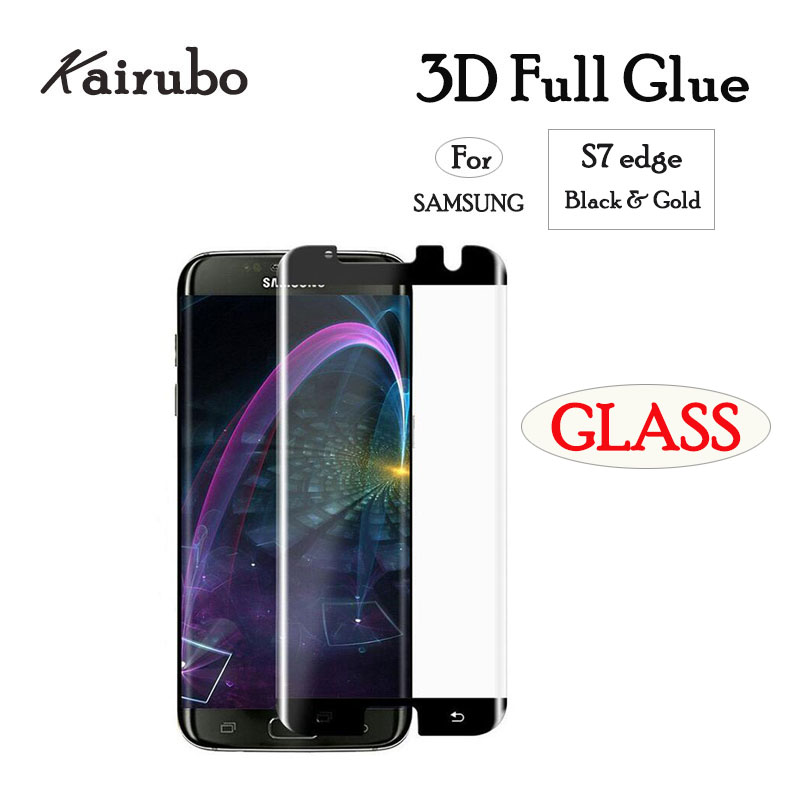3D Case Friendly Full Glue Tempered Glass For Samsung Galaxy S7 edge Curved Adhesive Screen Protector Film S7edge