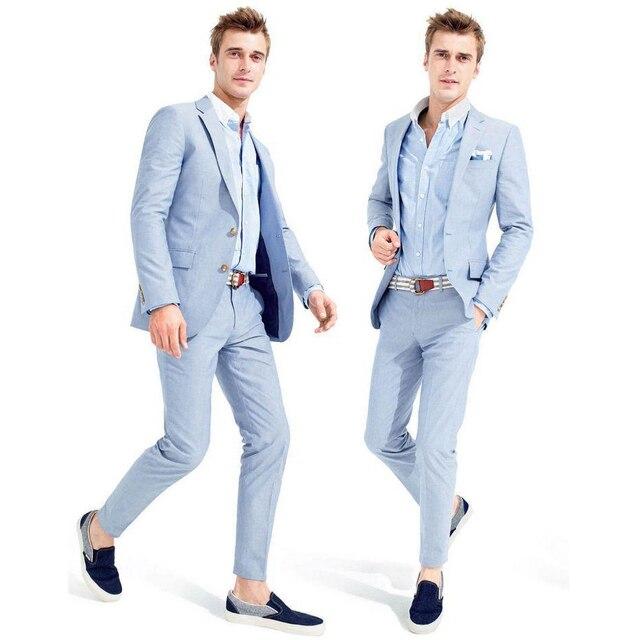 2016 Новое Прибытие Голубой Повседневная Мужская Мода Куртка Slim Костюмы Однобортный Костюм Мужчины Формальный Костюм Groomsmen Свадебные Костюмы