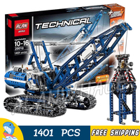 1401pcs 2in1 Techinic Motorized Crawler Mobile Tower Crane 20010 Model Building Blocks Assemble Toys Bricks Compatible With Lego