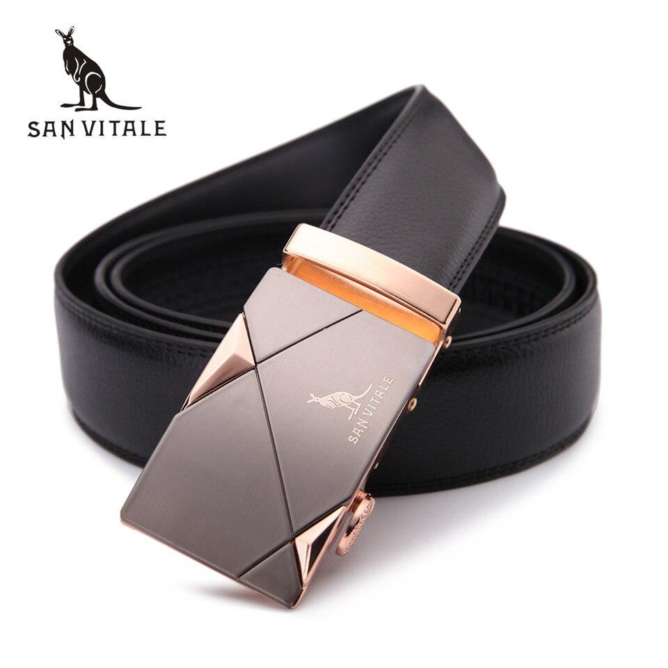 2017 moda uomo cintura 100% Genuine Leather mens cinture gli uomini di Alta qualità del metallo automatico fibbie Cinturino maschio per I Jeans cowboy
