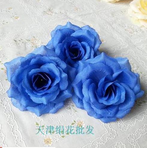 50 шт. искусственная Камелия Роза Пион Свадебные цветы декоративные искусственные цветы несколько цветов - Цвет: deep blue