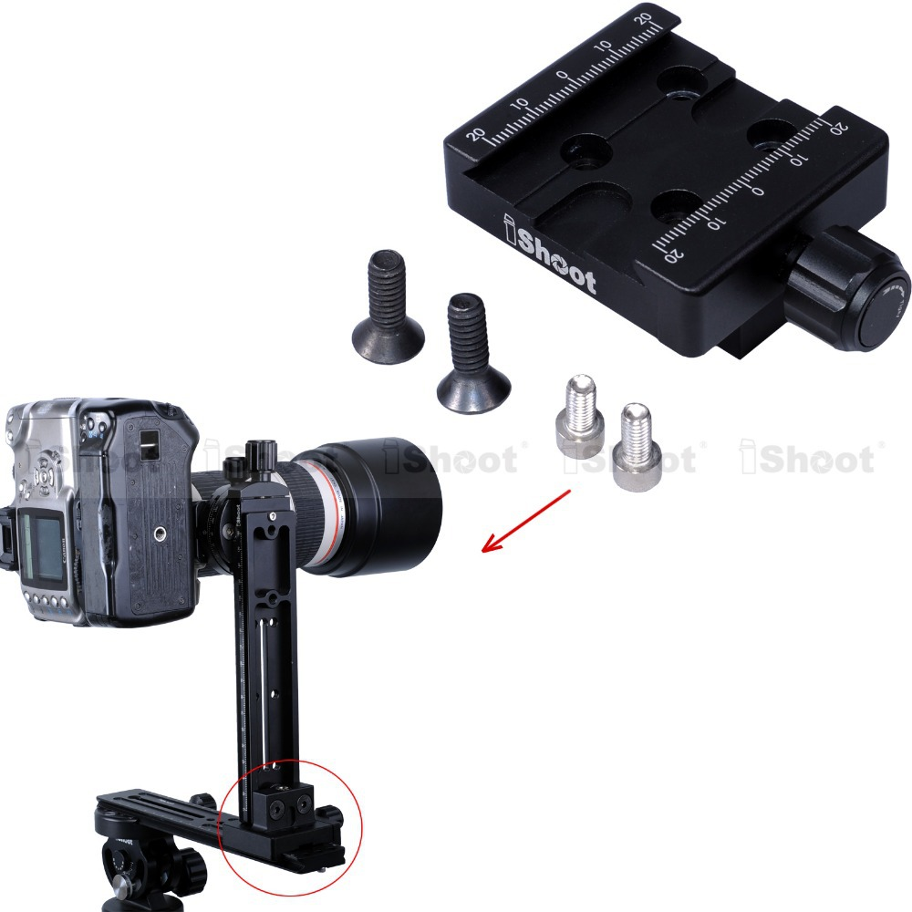 iShoot Multifunctional Clamp Linker Connector for SIRUI MARSACE Arca-swiss ARCA Fit Camera Tripod Ball Head Quick Release Plate