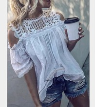 2019 Women Off Shoulder Blouse Casual Round Neck Lace Hollow Out Tops Summer Ladies Solid Color Loose Vintage Shirt Plus Size недорго, оригинальная цена