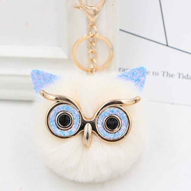 Bán buôn Dễ Thương Rhinestone Owl Keychain 23 Màu Sắc Đáng Yêu Lông Pompom Động Vật Owl Key Chain Phụ Nữ Túi Quyến Rũ Mặt Dây Chuyền Chìa Khóa Xe nhẫn