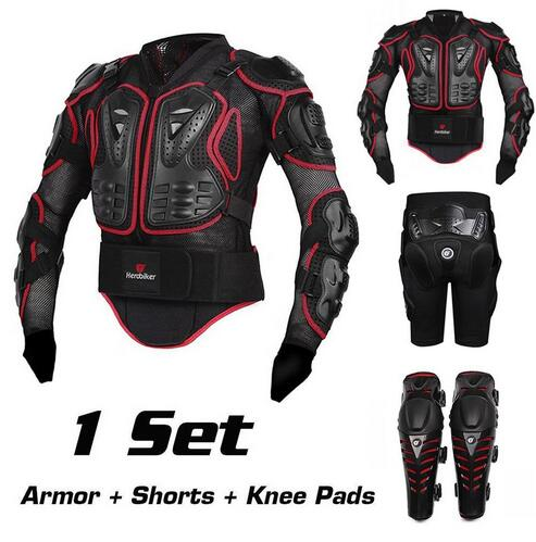 HEROBIKER Motorcycle Motocross Enduro ATV Racing Full Body Protective Gear Protector Armor Jacket + Hip Pads Shorts + Knee Pads herobiker armor removable neck protection guards riding skating motorcycle racing protective gear full body armor protectors