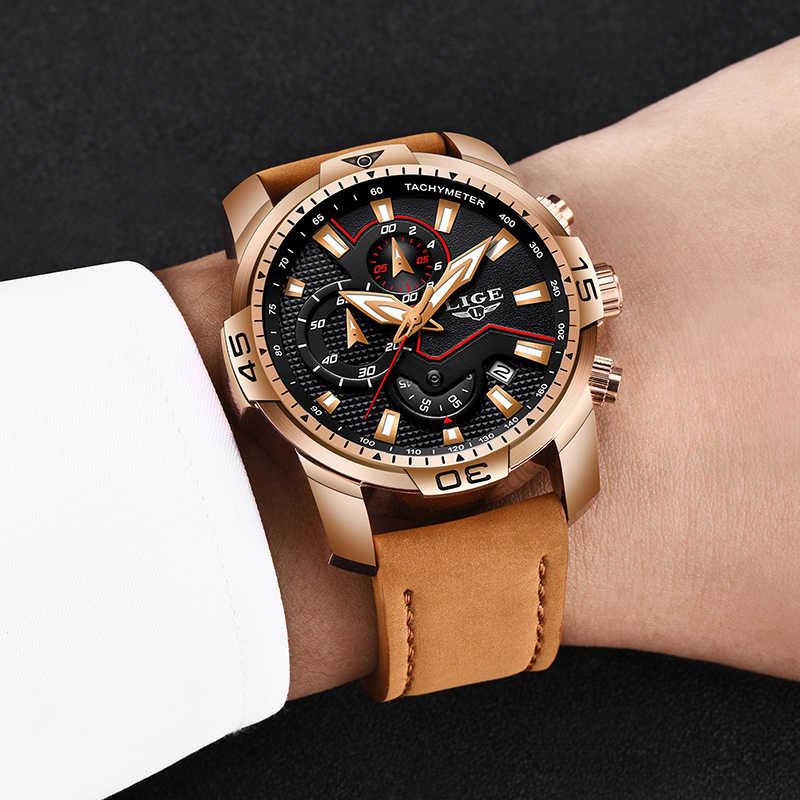 ליגע 2019 אופנה גברים של ספורט שעון גברים אנלוגי קוורץ שעונים עמיד למים תאריך צבאי תכליתי יד שעונים גברים שעון + תיבה