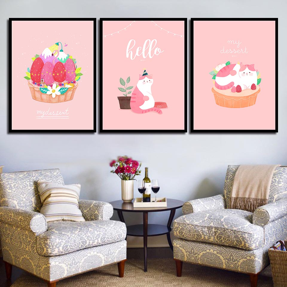 Cartoon Lovely Pink Cat Cake Pictures Print Flowers Poster