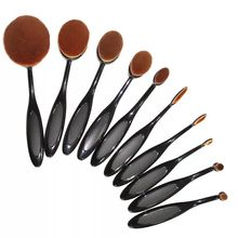 New 6/10pcs Tooth Shape Oval Makeup Brush Set Pro Foundation Powder Cosmetic Brush Kits  Synthetic hair Makeup toothbrush Set