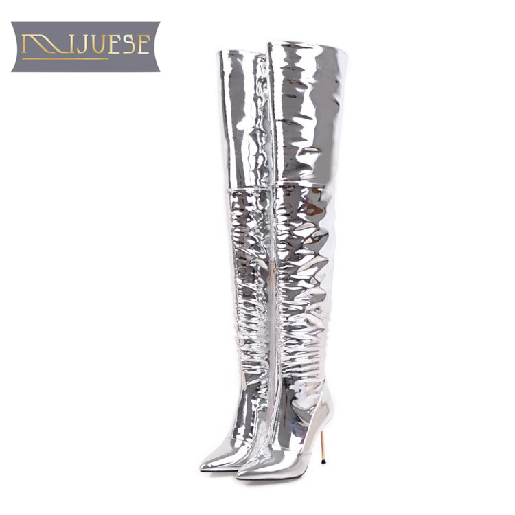 MLJUESE 2018 women over the knee high boots zippers silver color pointed toe thin heels fashion