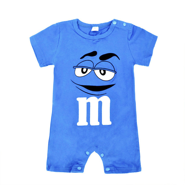 18ea0ea05 Infant Baby Kleding Blue Cartoon Print Short Sleeve Romper Outfit ...
