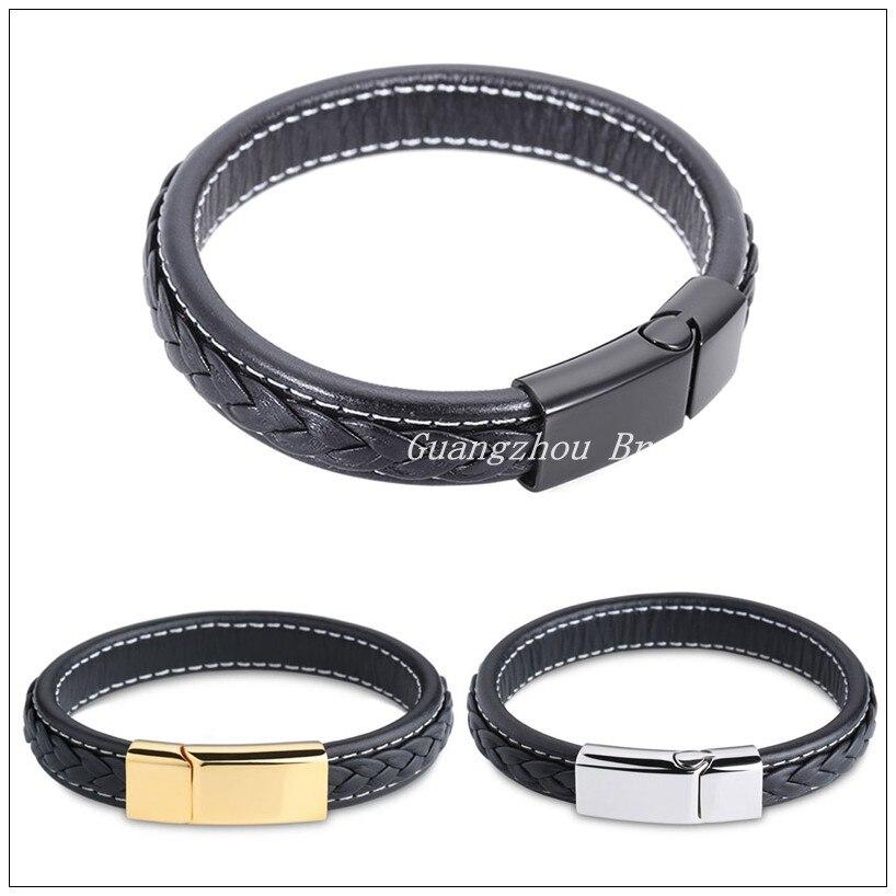 Noir /él/égant bracelet Bracelet en cuir v/éritable pour homme avec fermoir en acier inoxydable 316L /él/égant
