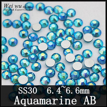 SS30 288pcs 12 Facets Stones Aquamarine AB None Hot fix Machine Cut Blue Rhinestones For Nail Art
