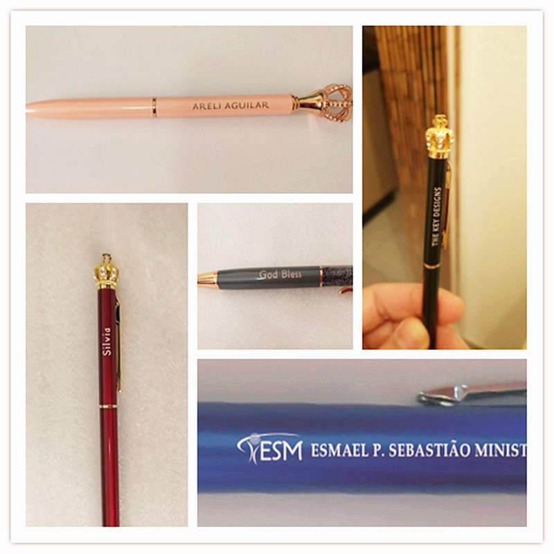 New Crown Diamond Metal Ballpoint Pens Engraved Name Ball Pens High Grade Birthday Valentine 39 s Day Gifts Stationery With Pen Box in Ballpoint Pens from Office amp School Supplies