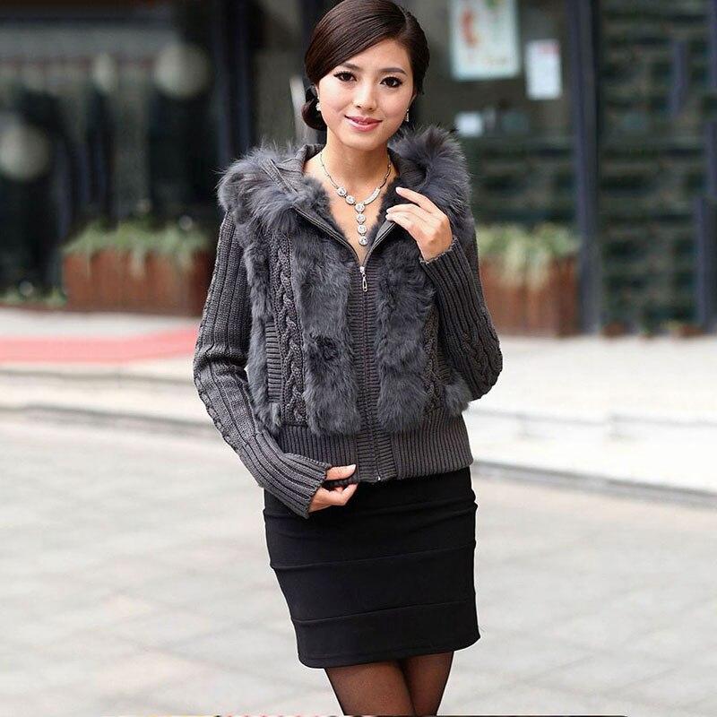 Femmes veste courte avec sweat à capuche et tricoté lapin naturel manteau de fourrure automne hiver printemps chandail pour femme pleine manches outwear