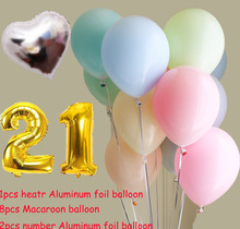 11pcs Macaroon Balloon & 21st Heart Silver foil balloon Birthday Wedding Engagement Party Decor Globo Kids Ball Supplies
