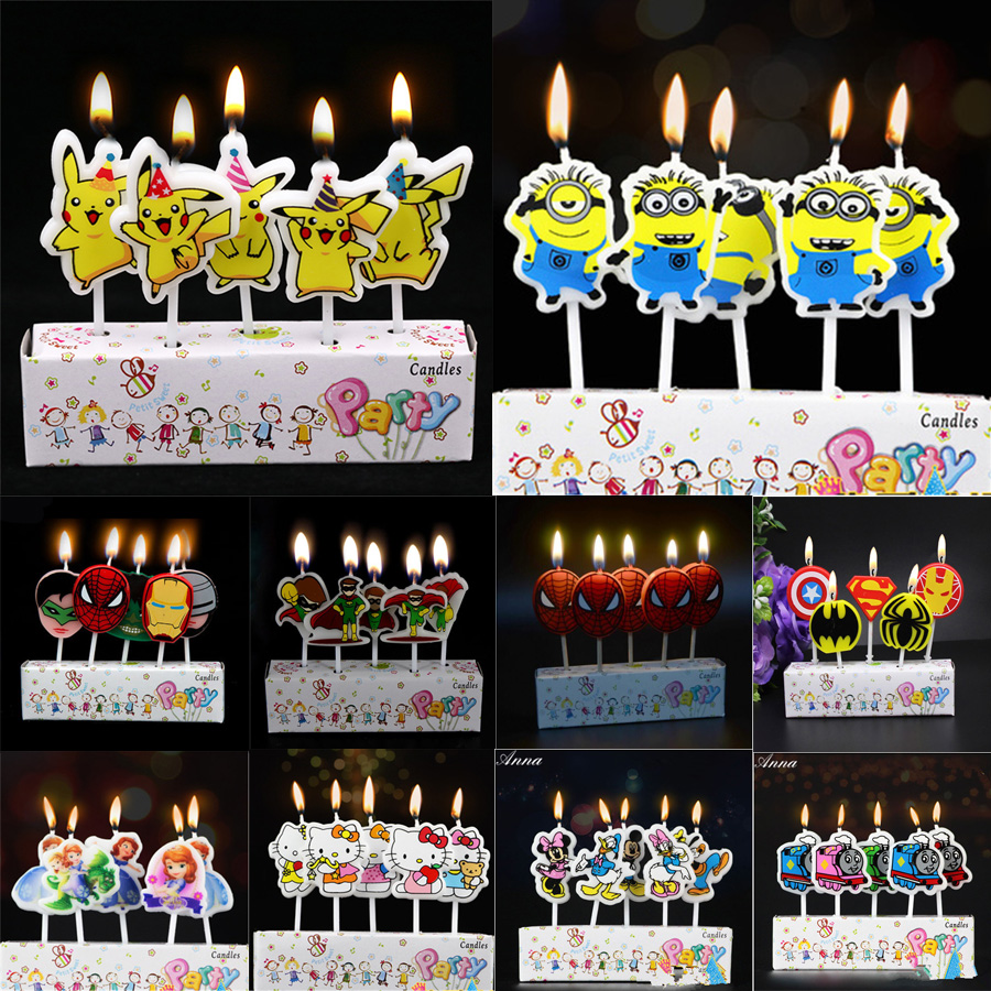 Kids Birthday Cake Candles Spiderman Mario Thomas Mickey Minnie Minions Avengers Pokemon Sofia Mermaid Party Supplies Decoration